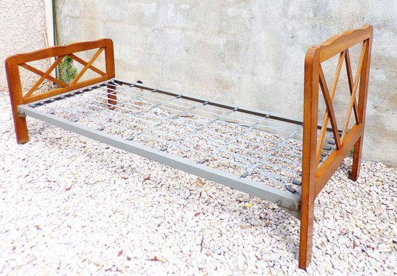 braces oak bed  vintage bed  scandinavian bed mid by PopVintages