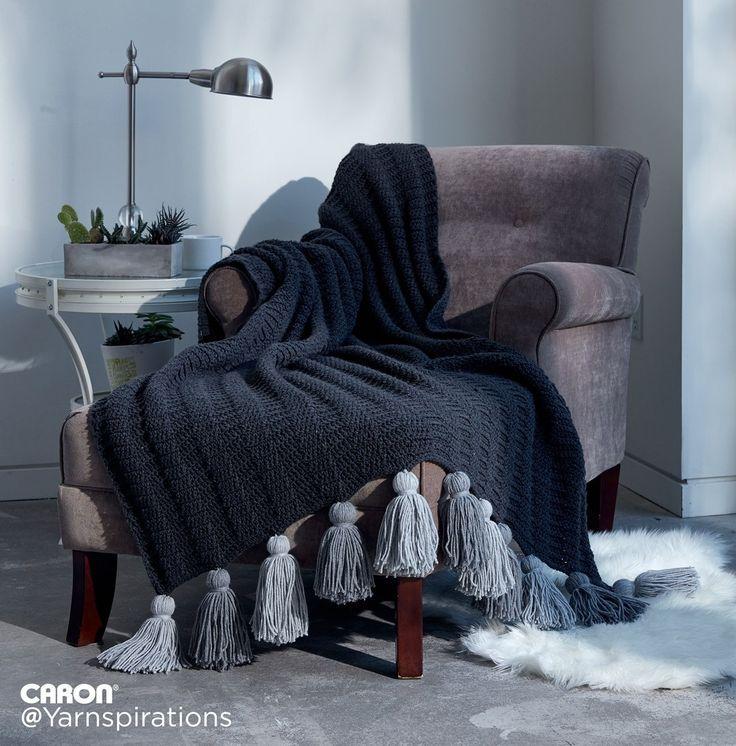 Crochet Tasseled Throw | Free Pattern | Caron One Pound | Gray Matters