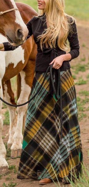 cute long plaid skirt http://rstyle.me/n/p25j6r9te Want this: