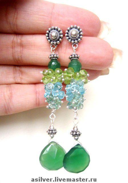 """Купить Серьги """"Игуана"""" - зелёный оникс, апатит, хризолит, изумруд, серебро 925 пробы"""