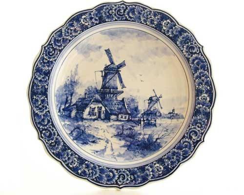 Windmill Plate Blue White China Blue China Yellow