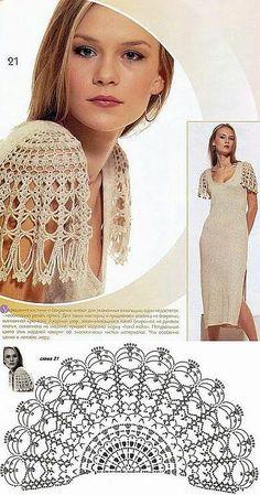 Crochet y dos agujas: Diseño de mangas para vestido al crochet