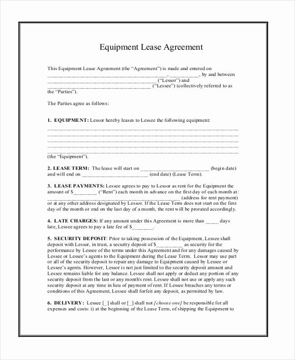 50 Equipment Rental Contract Template 2020 Contract Template