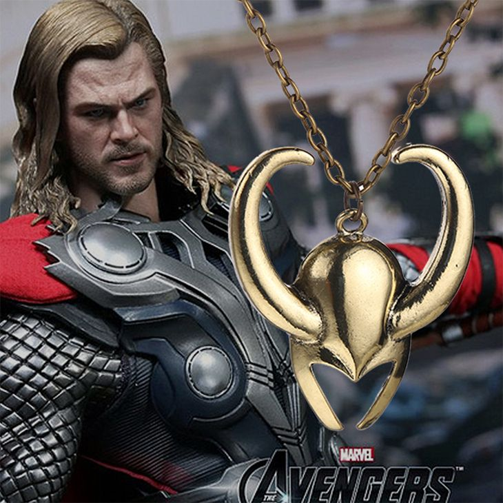 thor 2 the dark world necklace Loki helmet necklace vintage antique gold jewelry for men and women wholesale