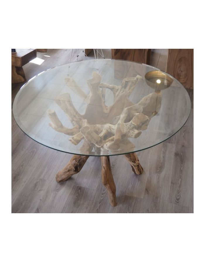 Teak Root Table With Round Glass Top Choice Of 120cm 150cm Or 180cm Root Table Dining Table Teak