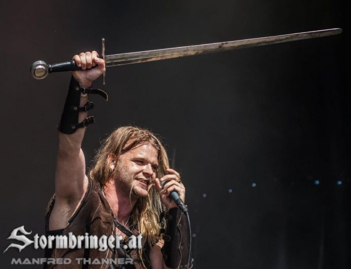 Chrileon - Twilight Force ⚫ Photo by Manfred Thanner, Stormbringer.at ⚫ Rockharz 2016 ⚫ #TwilightForce #music #metal #concert #gig #musician #Chrileon #singer #vocalist #frontman #singing #microphone #bracers #coat #leather #beard #earrings #blond #longhair #festival #photo #fantasy #magic #cosplay #sword #larp #man #onstage #live #celebrity #band #artist #performing #Sweden #Swedish #Rockharz