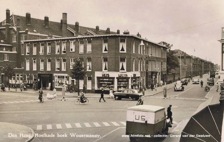 Hoefkade / Wouwermanstraat bij de Vaillantlaan (met tramrails), jaren 50
