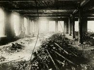 Interior of the Triangle Shirtwaist Factory after the fire. Still from the PBS Video https://video.pbs.org/video/1817898383/