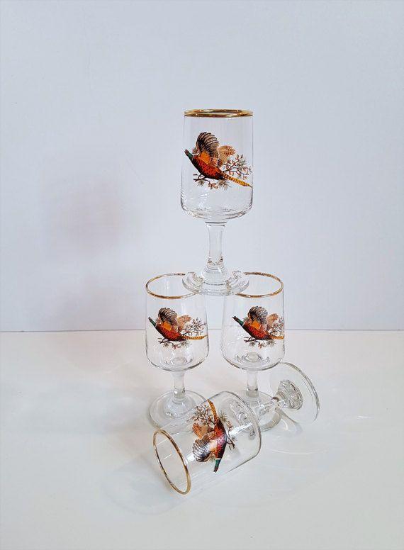 Vintage Pheasant Themed Aperitif Glasses by RetroEnvy21 on Etsy