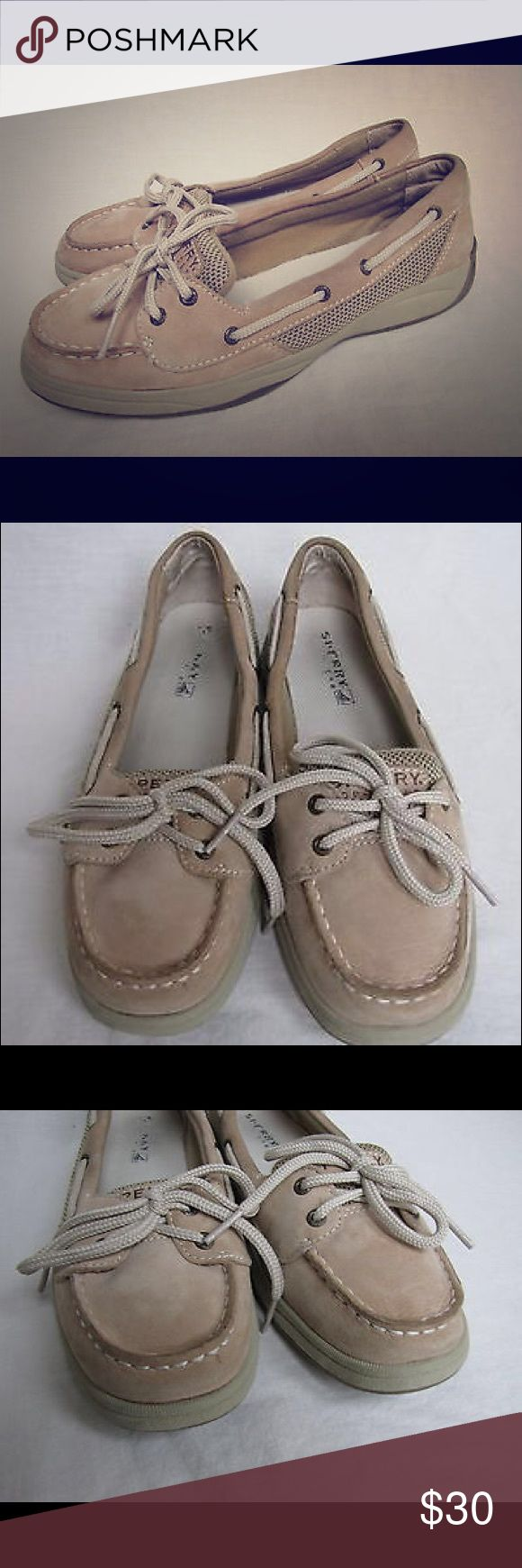 Girls Sperry Laguna Beige Leather Boat Shoes Girls Sperry Top Sider Laguna Beige Leather Boat Shoes Sz 5M. Model #YG42010A. Good condition- minor marks on the shoes, no smells or tears. Lace-up shoes, synthetic textile on teh sides. Feel free to ask questions. Sperry Top-Sider Shoes Moccasins