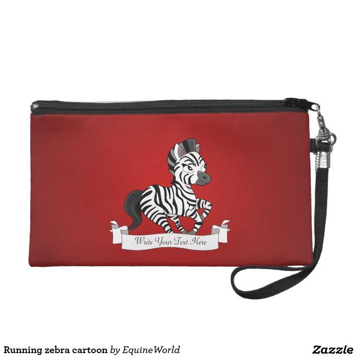 Running zebra cartoon wristlet purse