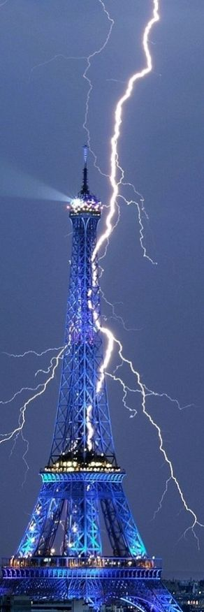 Lightning hits the Eiffel Tower in Paris, France