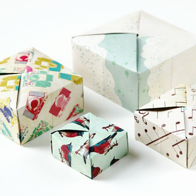 Diy Square Origami Box with interlocking lid.