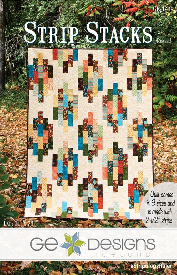 Strip Stacks By Erla, Gudrun  - Quilt is made with 2-1/2 strips and yardage for the background fabric. The pattern includes 3 sizes (crib, lap, full). The Lapsize uses 1 Jelly Roll This quilt is very simple to put together, great for beginners.: