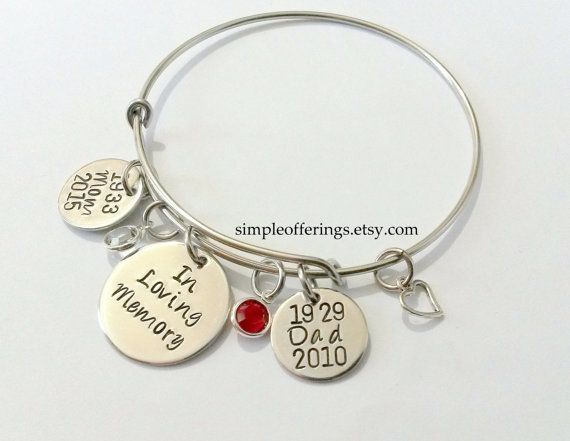 Memorial Bracelet In Loving Memory Of Mom Dad Husband Daughter Son Brother Sister Loss Loved One Remembrance Jewel Personalized Bangle Bracelets