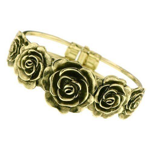 "Vintage Brass Rose Cuff Bracelet Gold Plated 6 1/2"" w/Gift Box Birthstone 1928. $35.38. BRACELET. BRASS. CUFF. FLOWER"