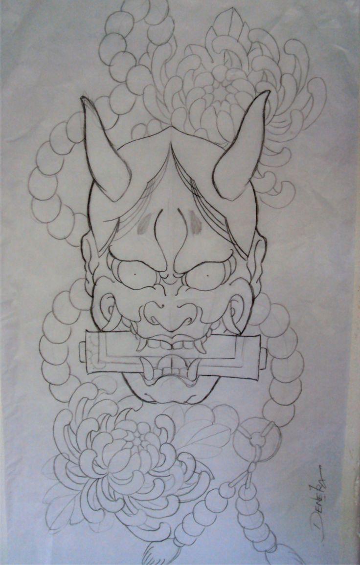 traditional japanese mask tattoo