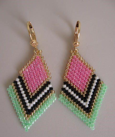 These pretty beadwoven earrings are lightweight & petite, & handmade with Ceylon medium pink, Ceylon limeade green, matte cream, opaque black, & golden