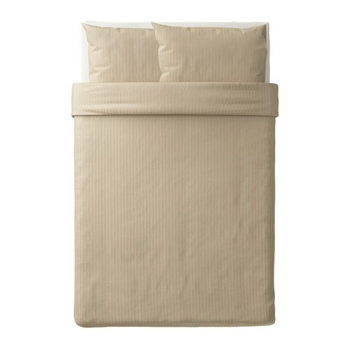 IKEA NATTJASMIN Quilt cover and 2 pillowcases Beige 200x200/50x80 cm Sateen-woven bedlinen in lyocell/cotton is very soft and pleasant to sleep in, and...