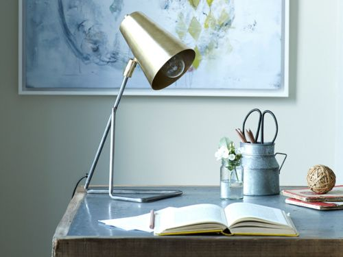 Our lovely Little Gee lamp is handmade from steel which has a gorgeous vintage brass and pewter finish. Its adjustable head makes it great for desks.