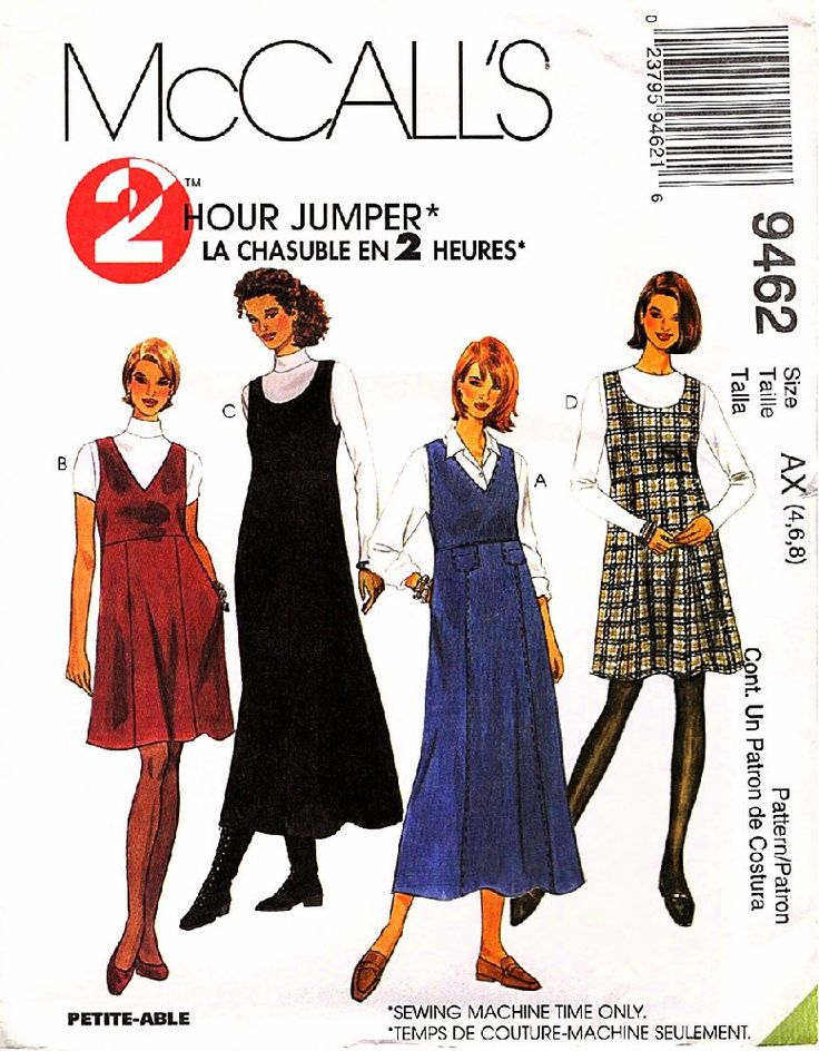 McCall's Sewing Pattern M9462 9462 Misses Sizes 4-8 2-Hour Jumpers Neck Length Options McCall's+Sewing+Pattern+M9462+9462+Misses+Sizes+4-8+2-Hour+Jumpers+Neck+Length+Options