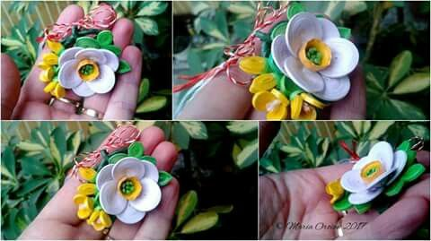 March brooche - daffodil and fresias by Maria Oroian