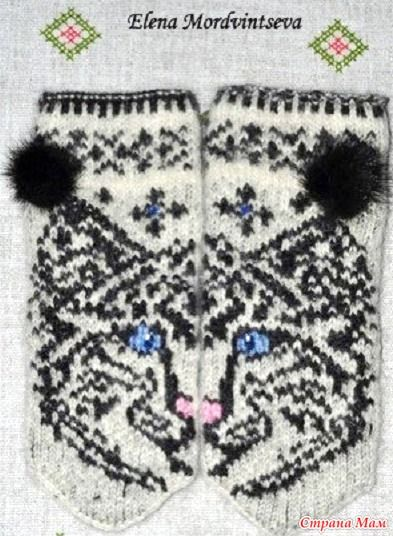 Варежки. Автор Светлана Чижова А это варежки другого автора, тоже с кошечкой. И носки... Успехов!