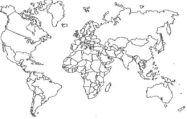 Wereldkaart om in te kleuren