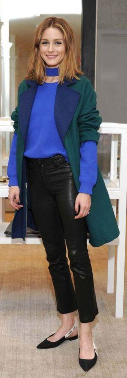 Who made  Olivia Palermo's blue sweater, green coat, black leather pants, and pumps?