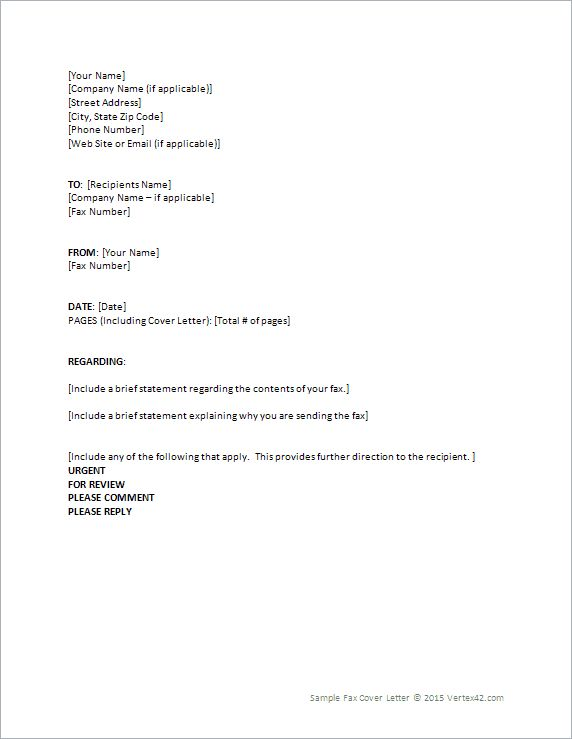 Download the Fax Cover Letter from Vertex42 Helpful Hints - sample fax cover letter