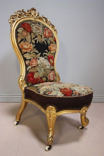 amazing early victorian gilt wood nursing chair with original needlepoint cover