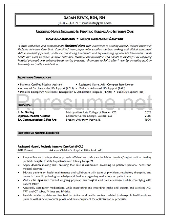 Pediatric Nurse Cover Letter 20 Best Resume Images On Pinterest  Rn Resume Sample Resume And .