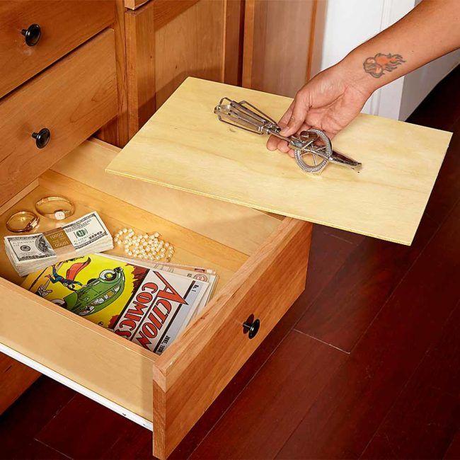 Hacer un fondo del cajón falso.