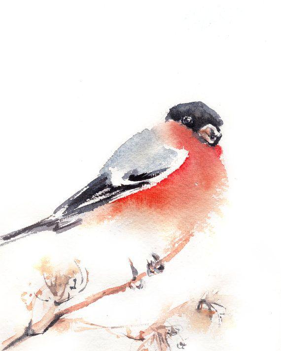 Bouvreuil pivoine imprimer aquarelle, oiseaux aquarelle Art Print, Wall Art
