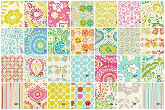 Fabric inspirations for her crib, toddler bed, curtains & changing pad