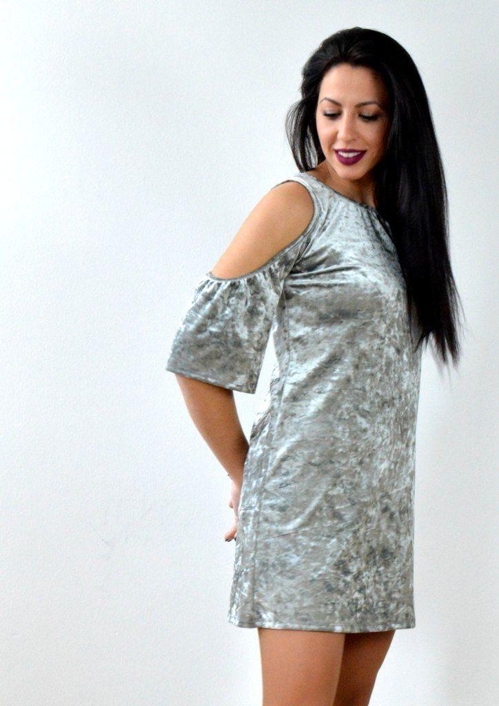 Φόρεμα Βελούδο με Ανοίγματα στους Ώμους - ΓΚΡΙ   shop online:www.musitsa.com