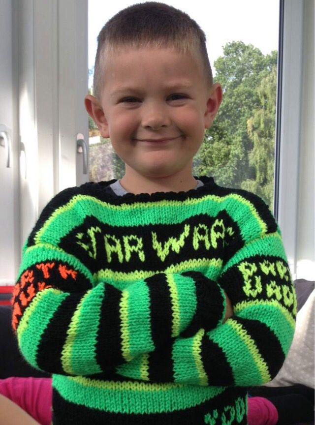 Star Wars genser strikket i Flash garn fra Europris
