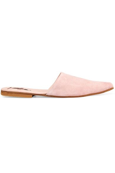 Brother Vellies is known for its signature 'velskoen' shoe - a native African design that's an ancestor of the modern day desert boot. These 'Sister' slippers are handcrafted from pastel-pink suede, lined in supple leather and finished with a crepe-trimmed heel to give them a spongy feel underfoot. Wear this pointed pair with ankle-grazing denim.