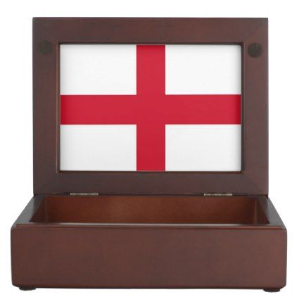 Wooden keepsake box with flag of England - stylish gifts unique cool diy customize
