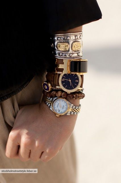 layered luxury watches make for a unique twist on the arm party ... and a great way to show some watch-love!: Arm Candy, Arm Party, Luxury Watches, Styl, Stacking Bracelets, Jewelry, Big Watches, Black Gold, Accessories