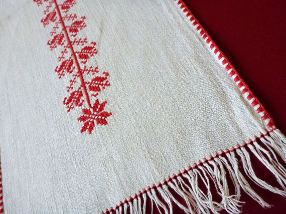 vintage embroidered white linen table runner tablecloth floral red embroidery cross stitch flowers fringe 70s