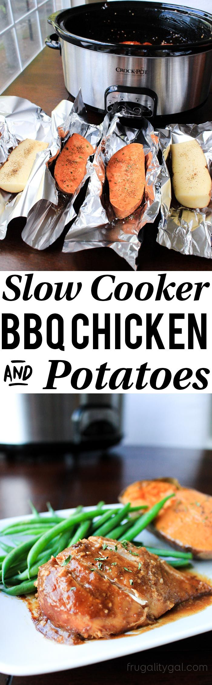 If you love easy dinners, you'll LOVE this crockpot BBQ chicken! Sweet potatoes are cooked in foil on top, while the chicken cooks on the bottom… Such an easy slow cooker chicken recipe!