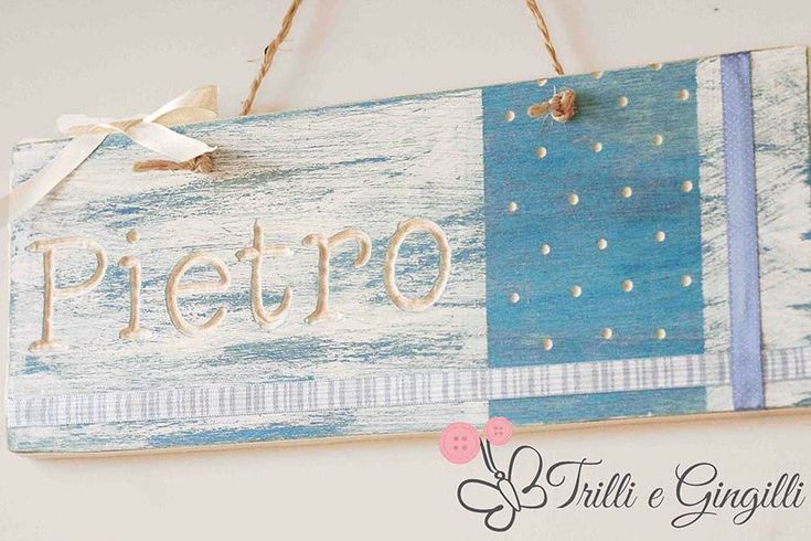 Targa in legno per cameretta bimbo. Wood sign for new baby boy.  #baby