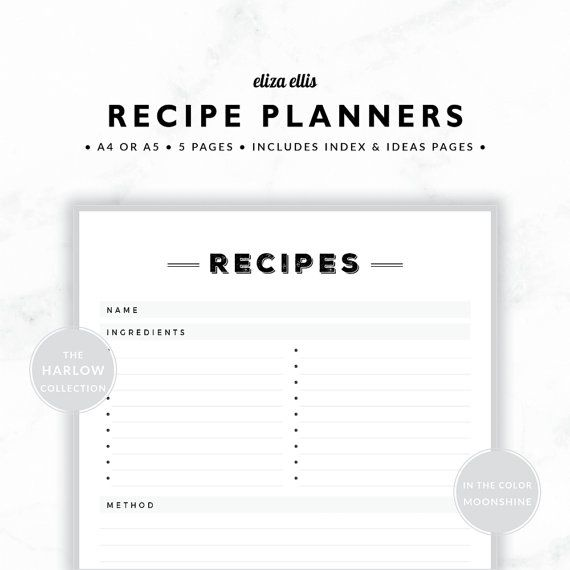 PLANNER ESSENTIALS - RECIPE PLANNERS - THE HARLOW PLANNERS IN MOONSHINE  Get your recipes organized with these gorgeous recipe planners! Featuring a recipe page and follower, theyre perfect for family favorites and mid week meals. Keep them with your meal planners for easy weekly menu planning too! The recipe ideas page is for those times when you dont need a full recipe - just a place to jot down inspiration and ideas, and the recipe index is a great quick reference for finding favorites in…