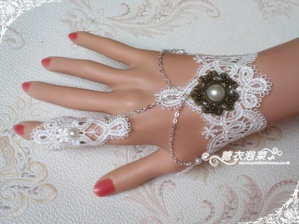 Nupcial de las flores de múltiples capas del cordón de la pulsera de la muñeca de la joyería femenina palacio retro sujetador blanco perla d...