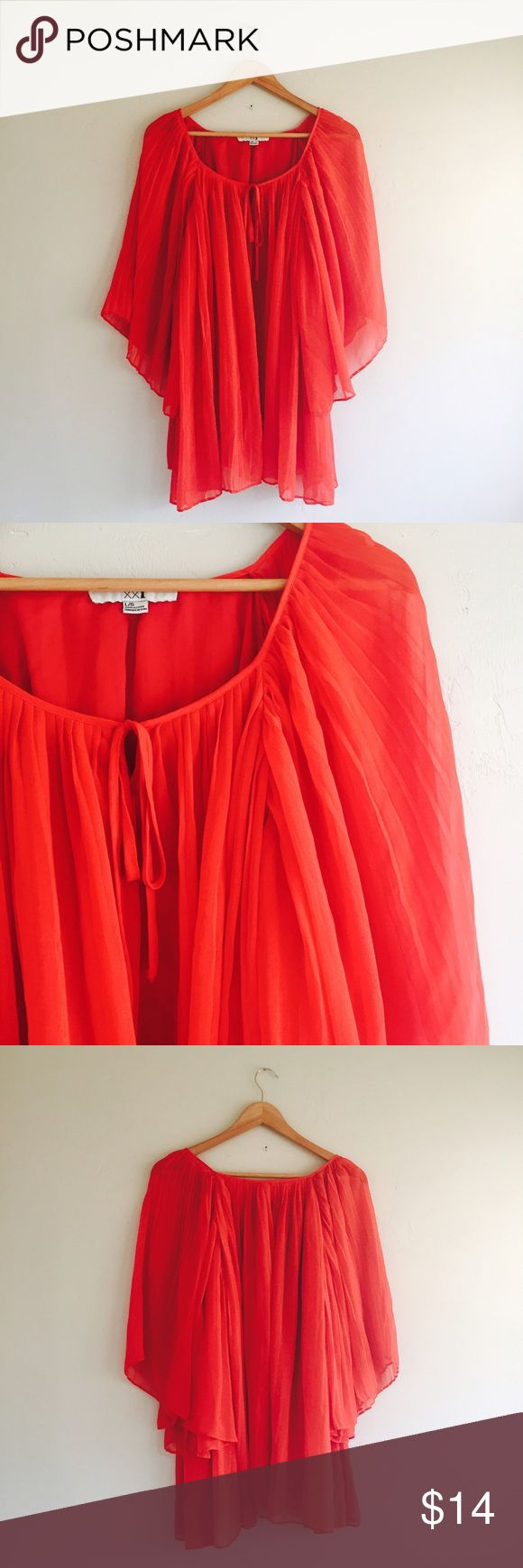 Forever 21 Red Batwing Sleeve Blouse Pleated Layer Forever 21 Red Batwing Sleeve Shift Blouse Pleated Layer Blouse Size Large L Forever 21 Tops Blouses