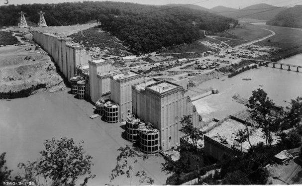 norris dam building photos | Norris Dam during ...