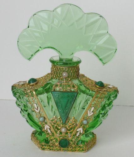 Antique Vintage Art Deco Czech Cut Crystal Perfume Bottle Filigree Jeweled Jewel | eBay