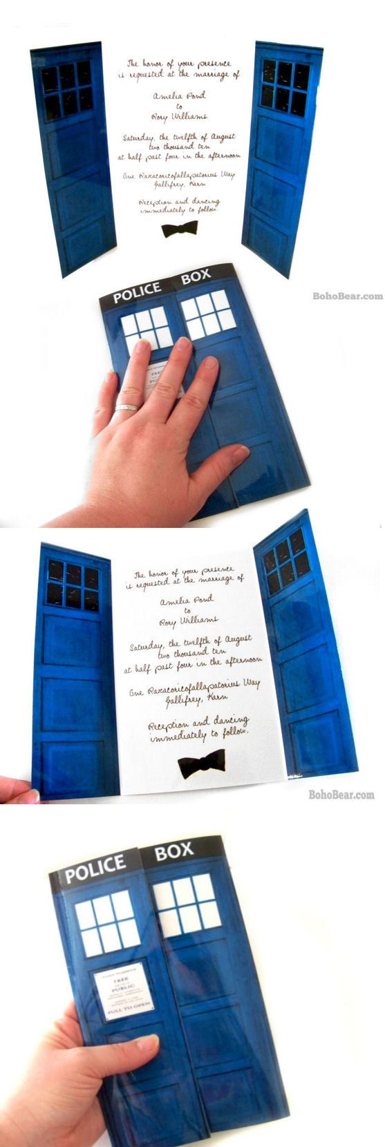 Doctor Who Inspired Wedding Invitations, Blue Police Box Invites for Geek WeddingsAdorable Geeky, Geek Wedding, Blue Police, Wedding Invitations, Doctors Who, Doctor Who Wedding, Dr. Who, Ideas Doctors, Geeky Wedding