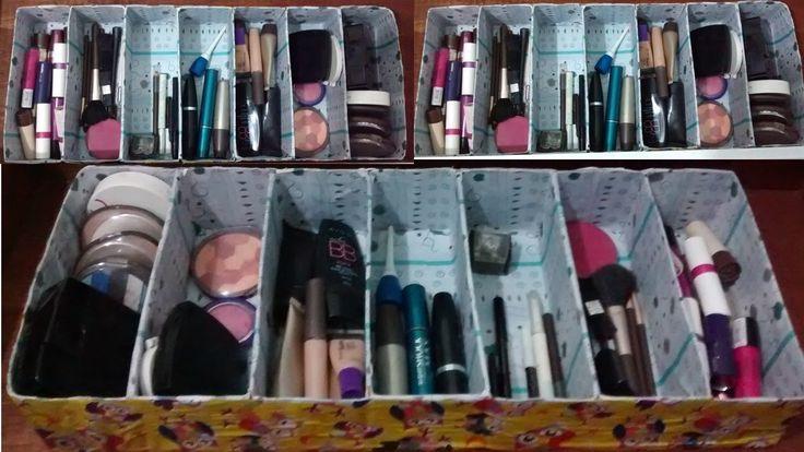 Como fazer organizador de maquiagem (ou gavetas) com caixa de leite!!!